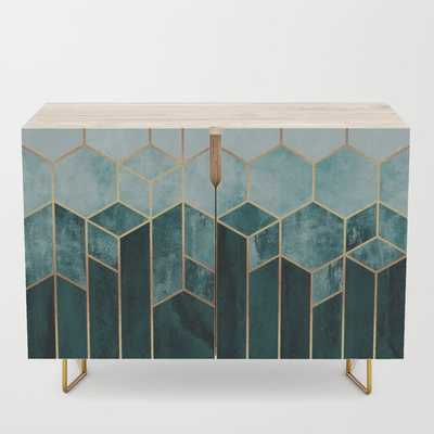 Teal Hexagons Credenza - Society6