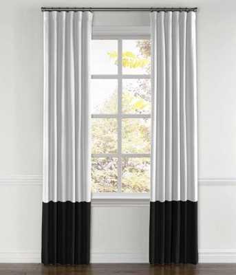 "Convertible Drapery Split Pair -Classic Linen - White/Black Color Block - 40"" x 103"" 1/2"" - Loom Decor"