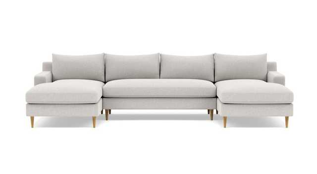 """Sloan Custom U-Sectional Sofa 125"""" Pebble with Natural Oak Tapered Roung Legs - Interior Define"""