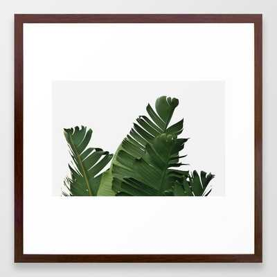 Minimal Banana Leaves Framed Art Print - 22 x 22 - Conservative Walnut Frame - Society6