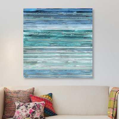 'Strata in Aqua' Painting Print on Canvas - Wayfair