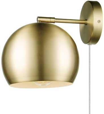 Novogratz x Globe Electric Novogratz x Globe Willow 1-Light Plug-in or Hardwire Wall Sconce, Matte Brass, White Fabric Cord, In-Line On/Off Rocker Switch 51577, Gold - Amazon