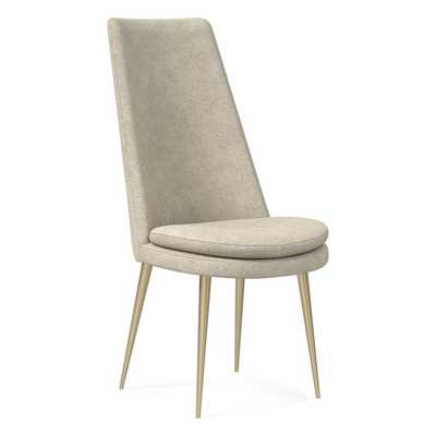 Finley High Back Dining Chair, Distressed Velvet, Light Taupe, Light Bronze - West Elm