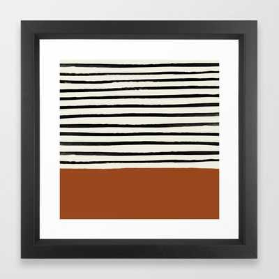 Burnt Orange x Stripes Framed Art Print by Leah Flores - Society6