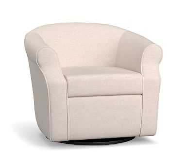 SoMa Lyndon Upholstered Swivel Armchair, Polyester Wrapped Cushions, Performance Brushed Basketweave Ivory - Pottery Barn