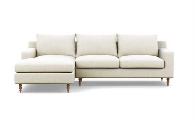 Sloan Chaise Sectional in Linen - Pebble Weave Fabric with Natural Oak Tapered Turned Wood Legs - Interior Define