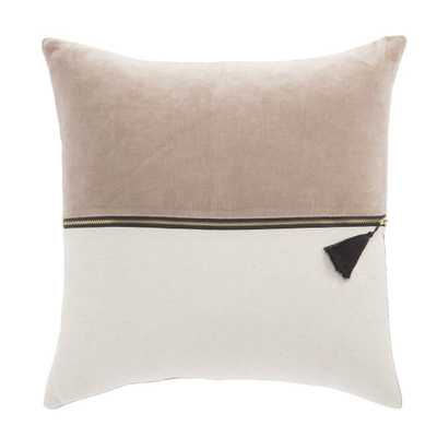 Kirat Beige & Ivory Textured Throw Pillow - Burke Decor