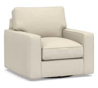 PB Comfort Square Arm Upholstered Swivel Armchair, Box Edge Memory Foam Cushions, Performance Brushed Basketweave Ivory - Pottery Barn