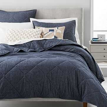 Organic Flannel Solid Coverlet, Midnight, Full/Queen - West Elm