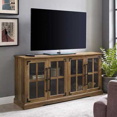 Welwick Designs Reclaimed Barnwood Farmhouse 4-Door TV Console for TV's up to 64 in. - Home Depot