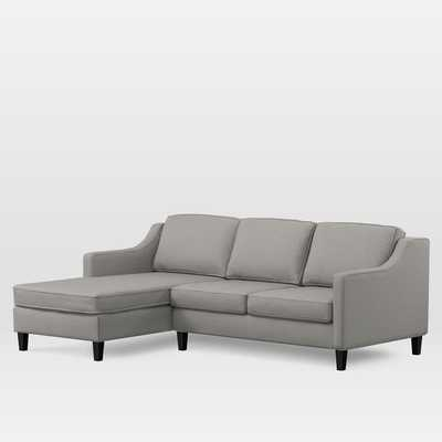 Paidge Sectional Set 01: Left Arm Loveseat, Left Arm Chaise, Twill, Platinum, Tapered Chocolate - West Elm