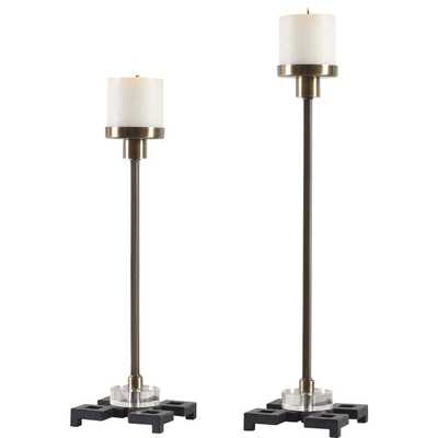 Montag Brass Candleholders, S/2 - Hudsonhill Foundry