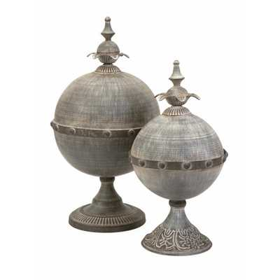 Decorative Lidded Spheres - Set of 2 - Mercer Collection