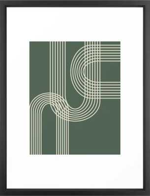 Minimalist Lines in Forest Green Art Print - Society6