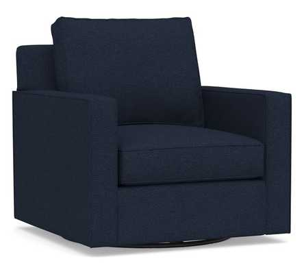 Cameron Square Arm Upholstered Swivel Armchair, Polyester Wrapped Cushions, Performance Heathered Basketweave Navy - Pottery Barn