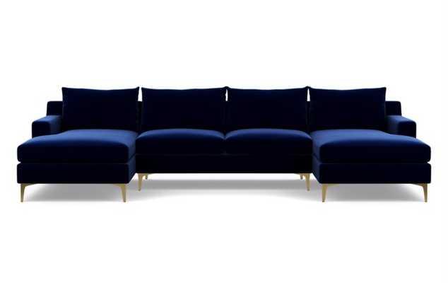 SLOAN U-Sectional Sofa - Oxford Blue Mod Velvet - Brass Plated Sloan L Leg - Interior Define