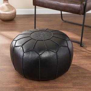 Southern Enterprises Devindale Black Faux Leather Pouf, Black finish - Home Depot