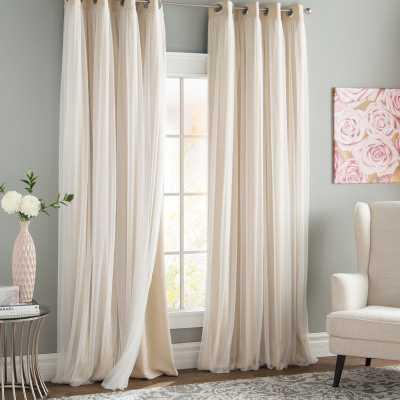 "Brockham Solid Blackout Thermal Grommet Curtain Panels - Beige, 52"" x 84"" L (set of 2) - Wayfair"