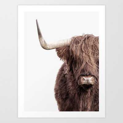Highland Cow Portrait Art Print - Society6