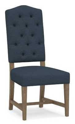 Ashton Upholstered Tufted Dining Side Chair, Gray Wash Frame, Brushed Crossweave Navy - Pottery Barn