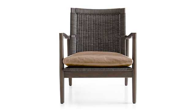 Sebago Midcentury Rattan Chair with Leather Cushion - Libby Mushroom - Crate and Barrel