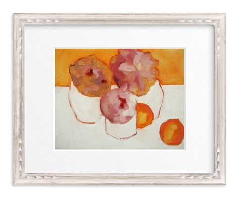 "Peonies and Kumquats - 14"" x 11"" - Whitewashed French Farmhouse Frame - Matted - Minted"