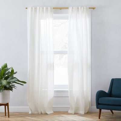 Sheer Belgian Flax Linen Curtain - West Elm