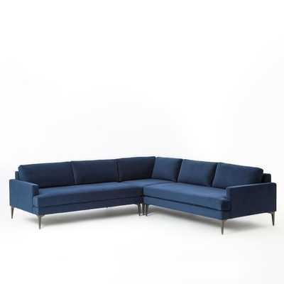 Andes L-Shaped Sectional - Performance Velvet, Ink Blue- Large - Right Arm 2.5-Seater Sofa, Corner, Left Arm 2.5-Seater Sofa - Standard Depth - West Elm
