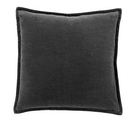 "WASHED VELVET PILLOW COVER 20 X 20"", EBONY - Pottery Barn"