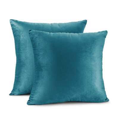 "Porch & Den Cosner Solid Color Microfiber Velvet Throw Pillow Cover - 24"" x 24"" - Teal - Overstock"