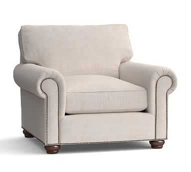 Webster Roll Arm Upholstered Armchair with Bronze Nailheads, Down Blend Wrapped Cushions, Performance Heathered Tweed Pebble - Pottery Barn