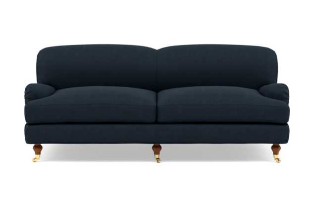 Rose by The Everygirl Sofa with Blue Boy Blue Fabric and Oiled Walnut with Brass Caster legs - Interior Define