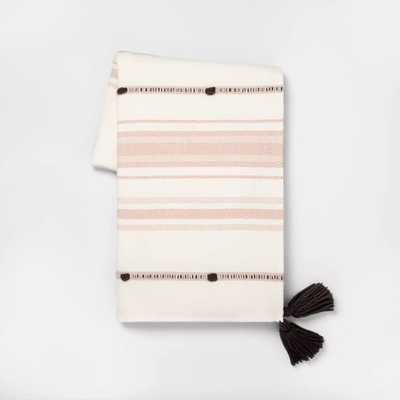 Throw Blanket Dusty Pink Stripe with Poms - Hearth & Hand™ with Magnolia - Target