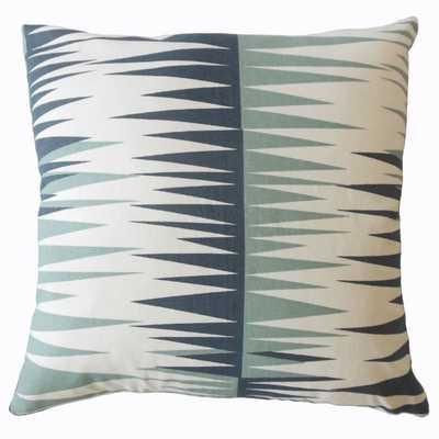 """Gadge Geometric Pillow Blue (with insert)- 18"""" x 18"""" - Linen & Seam"""