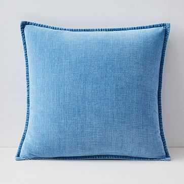 "Velvet Azure Pillow Cover, Set of 2, 20""x20"", Light Washed - West Elm"