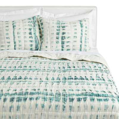 Ivory And Dark Teal Pintucked Quilt - World Market/Cost Plus