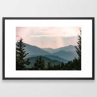 "Smoky Mountain Pastel Sunset Framed Art Print by Cascadia with Vector Black Frame - 26""x38"" - Society6"