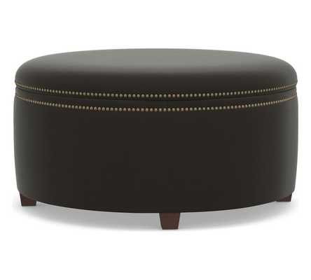 Tamsen Upholstered Round Storage Ottoman, Performance Everydayvelvet(TM) Smoke - Pottery Barn