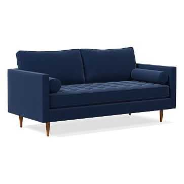 "Monroe Tufted 72"" Sofa, Poly, Performance Velvet, Ink Blue, Pecan - West Elm"
