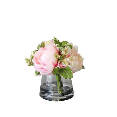 Silk Peonies Floral Arrangement in Glass Vase - Wayfair