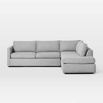 "Harris Sectional Set 11: Left Arm 75"" Sofa, Right Arm Terminal Chaise, Poly, Chenille Tweed, Irongate, - West Elm"