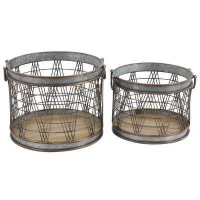 Industrial Cylindrical 2 Piece Metal/Wire Storage Basket Set - Wayfair