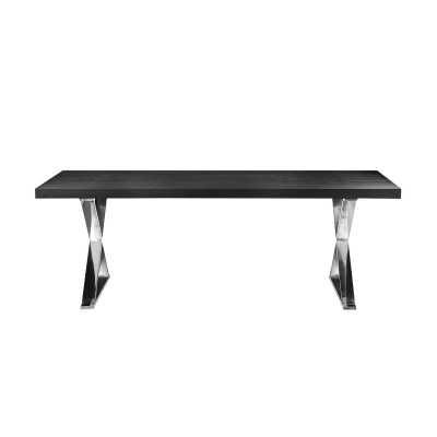 Alexa Dining Table - Black Top Silver Legs - Wayfair