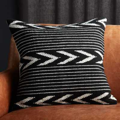 """20"""" Bowman Black and White Pillow with Down-Alternative Insert - CB2"""