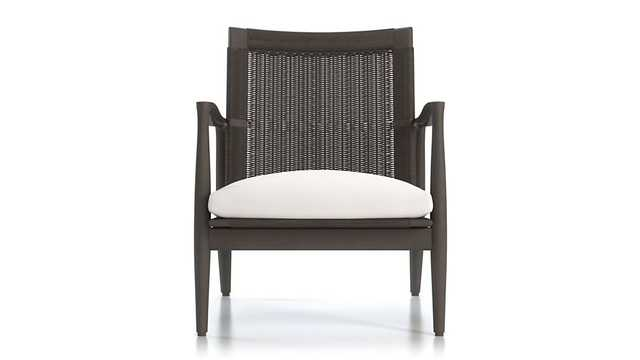 Sebago Midcentury Rattan Chair with Fabric Cushion - Crate and Barrel