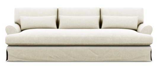 "Custom Maxwell 82"" Slipcovered Sofa - Vanilla Static Weave - White Oak with Antique Cap Stiletto Leg w/ Bench Cushion - Interior Define"