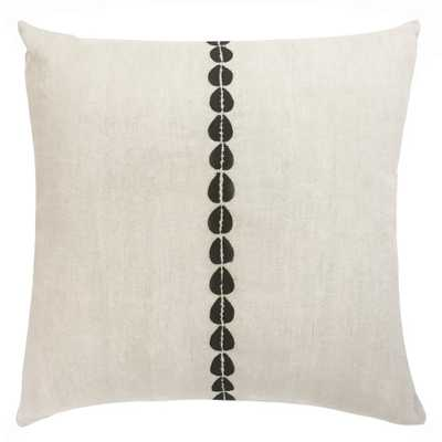 COWRIE EMBROIDERED PILLOW IN NATURAL AND BLACK - PillowPia