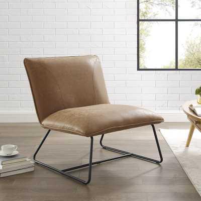 Gracinha Tufted Faux leather Slipper Chair - Wayfair