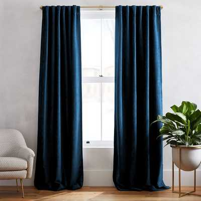 "Textured Upholstery Velvet Curtain, Set of 2, Regal Blue, 48""x96"" - Unlined - Set of 2 - West Elm"