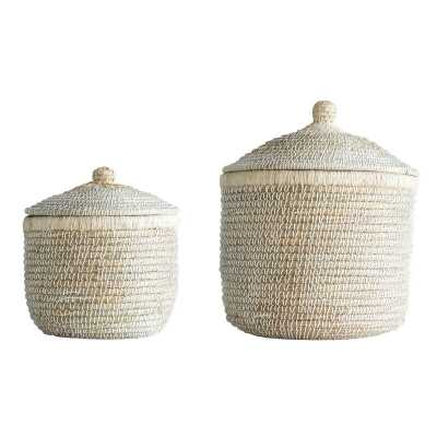 2 Piece Wicker/Rattan Basket Set - Wayfair